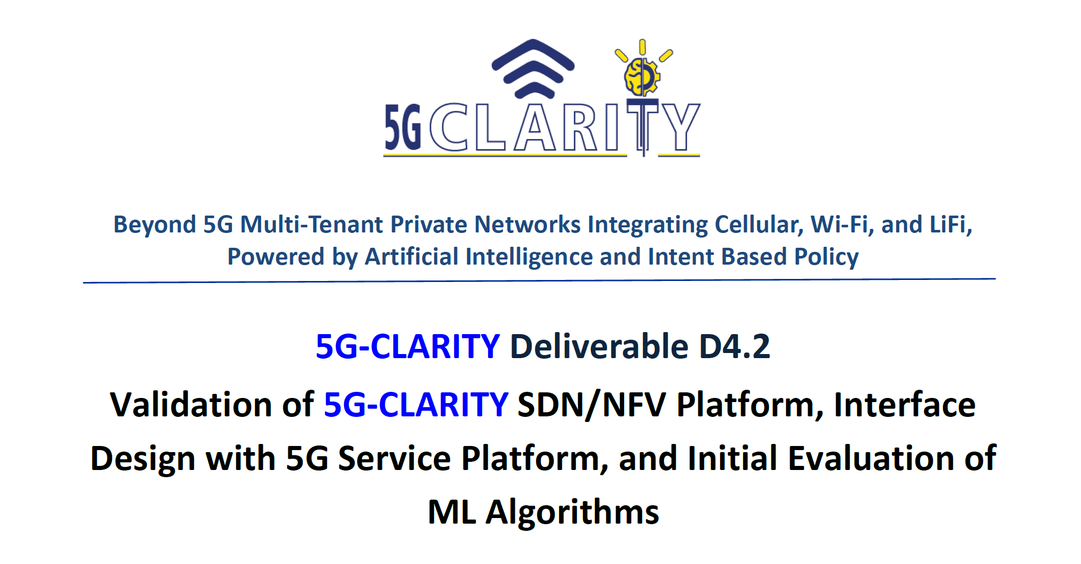 5G-CLARITY D4.2 was submitted and uploaded to the website!
